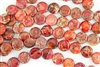 16mm Aqua Terra Jasper Gemstone Puffed Coin Beads - Light Red