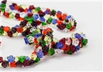 7mm Czech Button Style Flower Beads - Transparent Mix #BF151