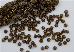 7mm Czech Button Style Flower Beads - Crystal Bronze Luster #BF10