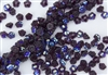 7mm Czech Button Style Flower Beads - Dark Amethyst AB #BF70