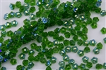 7mm Czech Button Style Flower Beads - Transparent Kelly Green AB BF73