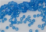 7mm Czech Button Style Flower Beads - Blue Aquamarine AB #BF76