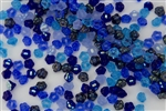 7mm Czech Button Style Flower Beads - Deep Sea Blue Mix #BF83