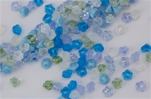 7mm Czech Button Style Flower Beads - Blue Serenity Mix #BF111