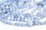 9mm Natural Chalcedony Blue Lace Agate Faceted Nugget Beads