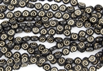 9x8mm Baby Snail Czech Glass Beads - Jet Black Gold Etched