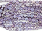 9x8mm Baby Snail Czech Glass Beads - Purple Opal AB