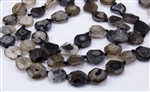 Natural Black Agate Gemstone Faced and Faceted Nugget Beads