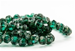 8mm Czech Glass Beads Central Cuts - Baroque Beads - Emerald Picasso