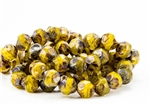 9mm Czech Glass Beads Central Cuts - Baroque Beads - Yellow Picasso