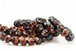 8mm Czech Glass Beads Central Cuts - Baroque Beads - Dark Topaz Picasso
