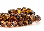 8mm Czech Glass Beads Central Cuts - Baroque Beads - Topaz Picasso