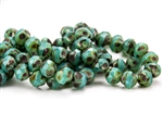 8mm Czech Glass Beads Central Cuts - Baroque Beads - Turquoise Opal Picasso