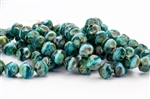 8mm Czech Glass Beads Central Cuts - Baroque Beads - Aqua Turquoise Picasso Mix