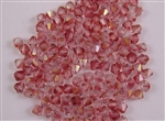 20 x Czech Crystals 4mm Bicones - Transparent Pink Luster