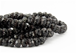 9x6mm Czech Glass Cruller Beads - Jet Black Picasso