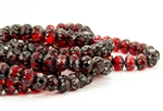 9x6mm Czech Glass Cruller Beads - Transparent Ruby Picasso