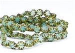 9x3mm Cactus Flower Czech Glass Beads - Milky Aqua Picasso