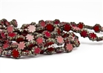 9x3mm Cactus Flower Czech Glass Beads - Opaque Red Picasso
