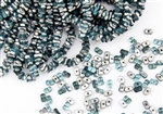 3x6mm Etched Farfalle Czech Glass Beads - Aqua Silver