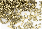 3x6mm Etched Farfalle Czech Glass Beads - Gold Crystal