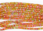 3x2mm Czech Glass Beads Faceted Rondelles - Tutti Frutti AB