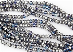 5x3mm Czech Glass Beads Faceted Rondelles - Crystal Bermuda Blue