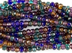 6x4mm Czech Glass Beads Faceted Rondelles - Dark Gemstone Mix Copper