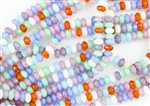 7x5mm Czech Glass Beads Faceted Rondelles - Opalite Mix