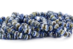 7x5mm Czech Glass Beads Faceted Rondelles - Sapphire Blue Picasso Mix