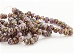 7x5mm Czech Glass Beads Faceted Rondelles - Purple Shades Picasso