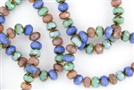 8x6mm Czech Glass Beads Faceted Rondelles - Milky Opalite Picasso Mix