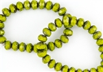 8x6mm Czech Glass Beads Faceted Rondelles - Olive Picasso