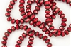 8x6mm Czech Glass Beads Faceted Rondelles - Coral Red Picasso
