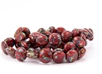 10mm Lentils Czech Glass Beads - Opaque Red Picasso
