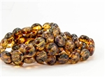 10mm Lentils Czech Glass Beads - Transparent Crystal Picasso