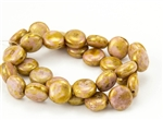 10mm Lentils Czech Glass Beads - Opaque Pale Pink Gold Topaz Luster