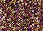 4mm Czech Glass O Beads - Apollo Gold Purple Iris