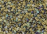 4mm Czech Glass O Beads - Crystal Golden Rainbow