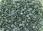 4mm Czech Glass O Beads - Emerald Celsian