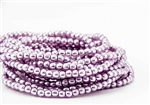 3mm Czech Glass Round Spacer Beads - Light Lilac Pearl Coat