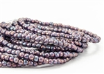 3mm Czech Glass Round Spacer Beads - Translucent Purple Mother of Pearl