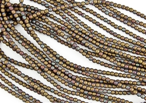 3mm Czech Glass Round Spacer Beads - Oxidized Bronze Clay Matte