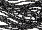 3mm Czech Glass Round Spacer Beads - Opaque Jet Black