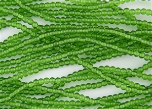 3mm Czech Glass Round Spacer Beads - Transparent Emerald Green