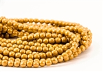 4mm Czech Glass Round Spacer Beads - Opaque Mustard Luster