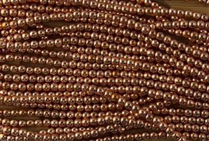 50% SPECIAL - 4mm Czech Glass Round Spacer Beads - Copper Penny Metallic **Some Beads Tarnishing**