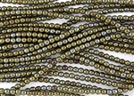 4mm Czech Glass Round Spacer Beads - Iris Brown Metallic