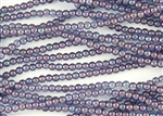 4mm Czech Glass Round Spacer Beads - Transparent Amethyst Luster