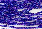 4mm Czech Glass Round Spacer Beads - Transparent Cobalt Iris Luster